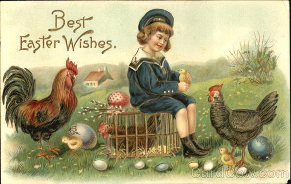 Boy in Sailor Suit with Chickens and Eggs With Children