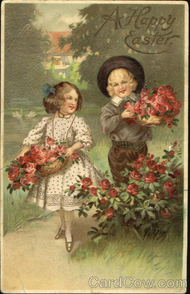 Boy and girl holding baskets of red flowers With Children