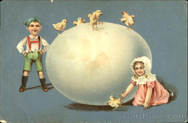 Boy and girl with chicks and a huge egg Eggs