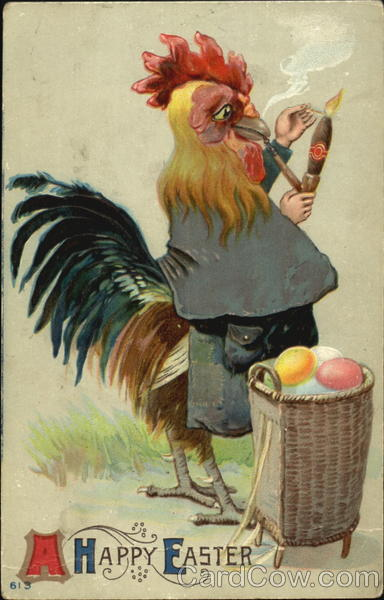 A Rooster Lighting a Pipe