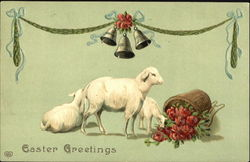 Three lambs with a basket of flowers