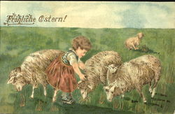 Lambs and a girl
