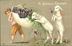 Boy carrying 1/2 egg with flowers, two lambs