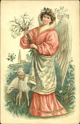 Angel holding lilies on hillside with two lambs