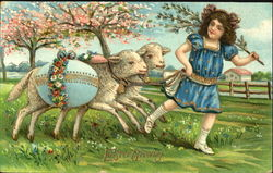 Girl with 2 lambs carrying blue egg