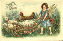 Angel child pushing eggshell cart with hen and sheep