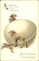 Two lambs with big egg
