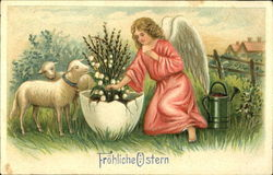 Angel and Lambs with Flowers in Egg