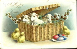 Three lambs in basket with pussy willows, 3 chicks, egs