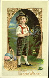 German boy with basket of easter eggs and chick