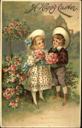 Boy and girl with roses