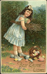 Girl holding green egg and with basket of Easter egg