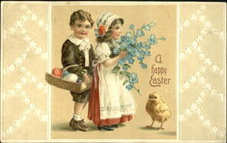 Boy and girl with flowers and eggs and a chick