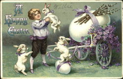 Young boy, white rabbits and a flowered cart