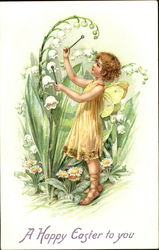 Girl with yellow fairy wings, playing on flower