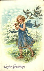 Little Girl Fairy and a Flock of Birds