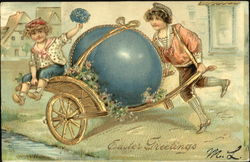 Children bringing a faberge egg