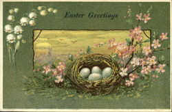 Eggs in Nest with Flowers