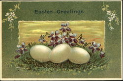Eggs with Grass and Flowers
