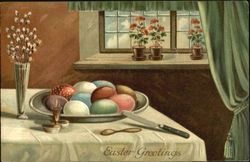 Table Scene with Colored Eggs