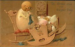 Egg mother knitting, egg baby in cradle