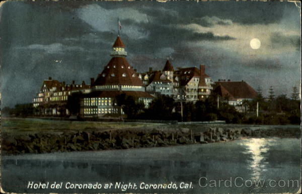 Hotel del Coronado at Night, Coronado, Cal California