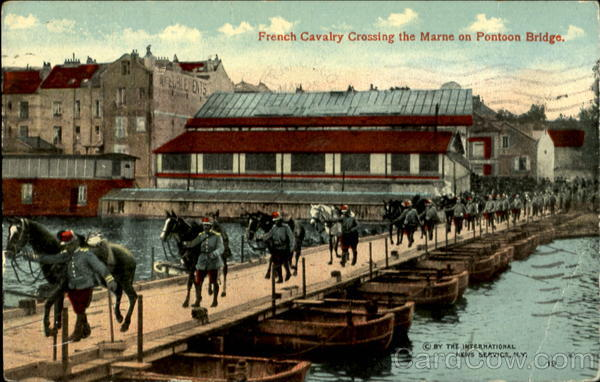 French Cavalry Crossing the Marne on Pontoon Bridge River Marne France
