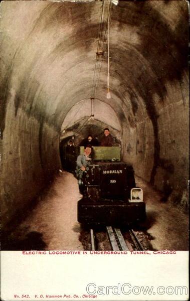 Electric Locomotive in Underground Tunnel, Chicago Illinois