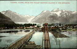 Valdez, Alaska from the wharf showing glacier in the distance