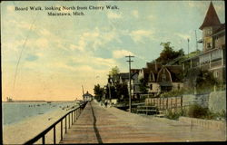 Board Walk, looking North from Cherry Walk, Macatawa, Mich Postcard