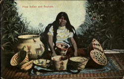 Pima Indian and Baskets