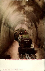 Electric Locomotive in Underground Tunnel, Chicago Postcard