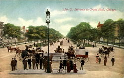 35th St. Entrance to GRand Blvd. Chicago Postcard