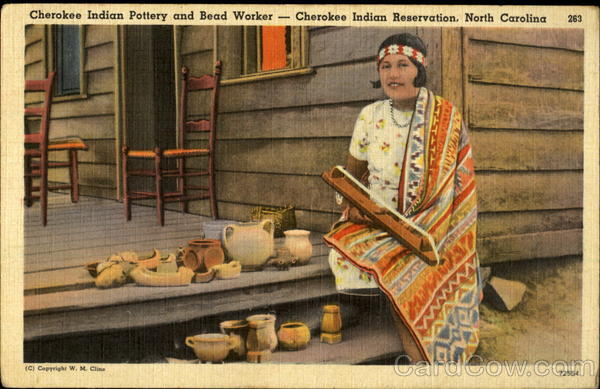 Cherokee Indian Pottery and Bead Worker--Cherokee Indian Reservation, North Carolina 263