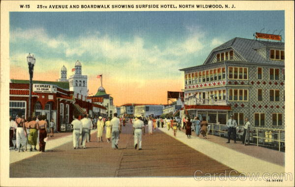 25th Avenue and Boardwalk Showing Surfside Hotel North Wildwood New Jersey