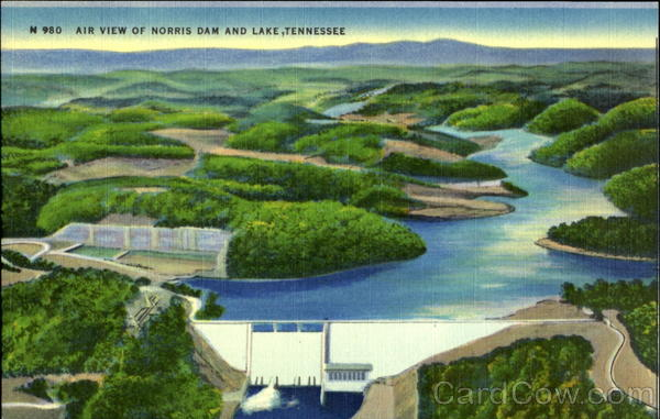Air View of Norris Dam and Lake, Tennessee