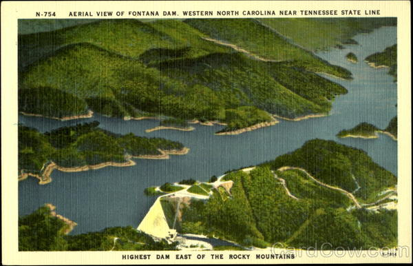 Aerial View of Fontana Dam, Western North Carolina near Tennessee State line Scenic