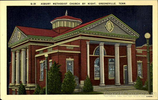 G-31 Asbury Methodist Church By Night Greeneville Tennessee
