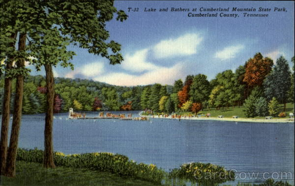 Lake and Bathers at Cumberland Mountain State Park Cumberland County Tennessee