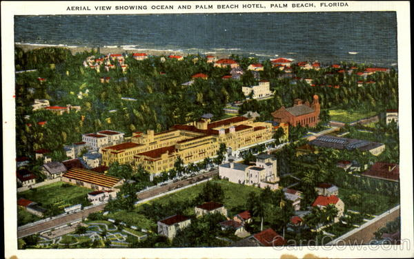Aerial view showing ocean and Palm Beach Hotel Florida