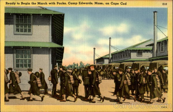 Ready to Begin the March with Packs, Camp Edwards, Mass., on Cape Cod E10 Massachusetts