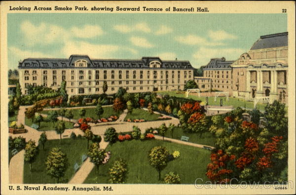 Looking across Smoke Park, showing Seaward Terrace of Bancroft Hall Annapolis Maryland