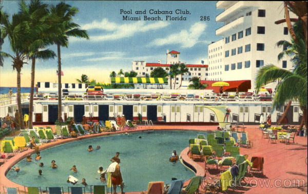 Pool and Cabana Club Miami Beach Florida