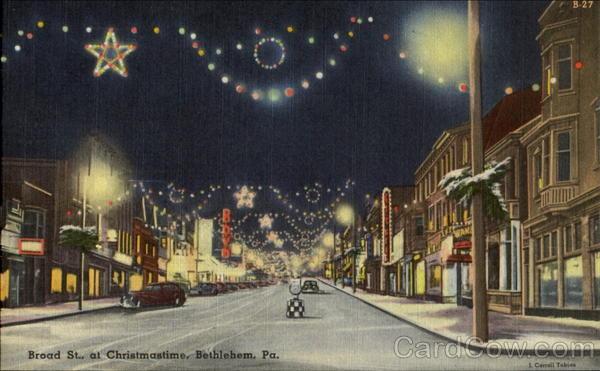 Broad St. at Christmastime Bethlehem Pennsylvania