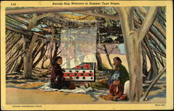 Navajo Rug Weavers in Summer Type Hogan