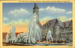 Aloe Plaza, showing fountain, Union Station and Post Office Postcard