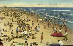 Beach and Bathing Scene at Wildwood By- The- Sea, NJ