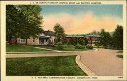 Sunrise scene of hospital group and doctos' quarters. U.S. Veterans' Administration Facility