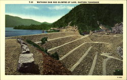 Watauga Dam and Glimpse of Lake, Eastern Tennessee Postcard