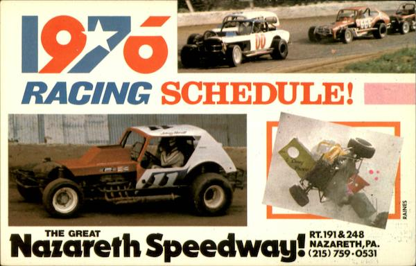 1976 Racing Schedule! The Great North Speedway! Nazareth Pennsylvania